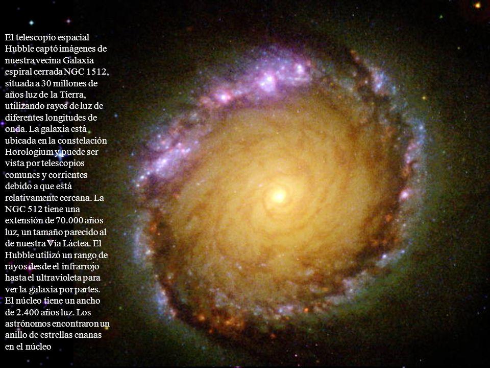 El telescopio espacial Hubble captó imágenes de nuestra vecina Galaxia espiral cerrada NGC 1512, situada a 30 millones de años luz de la Tierra, utili