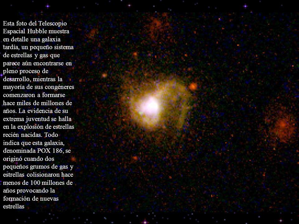Esta foto del Telescopio Espacial Hubble muestra en detalle una galaxia tardía, un pequeño sistema de estrellas y gas que parece aún encontrarse en pl