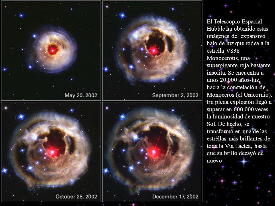 El Telescopio Espacial Hubble ha obtenido estas imágenes del expansivo halo de luz que rodea a la estrella V838 Monocerotis, una supergigante roja bas