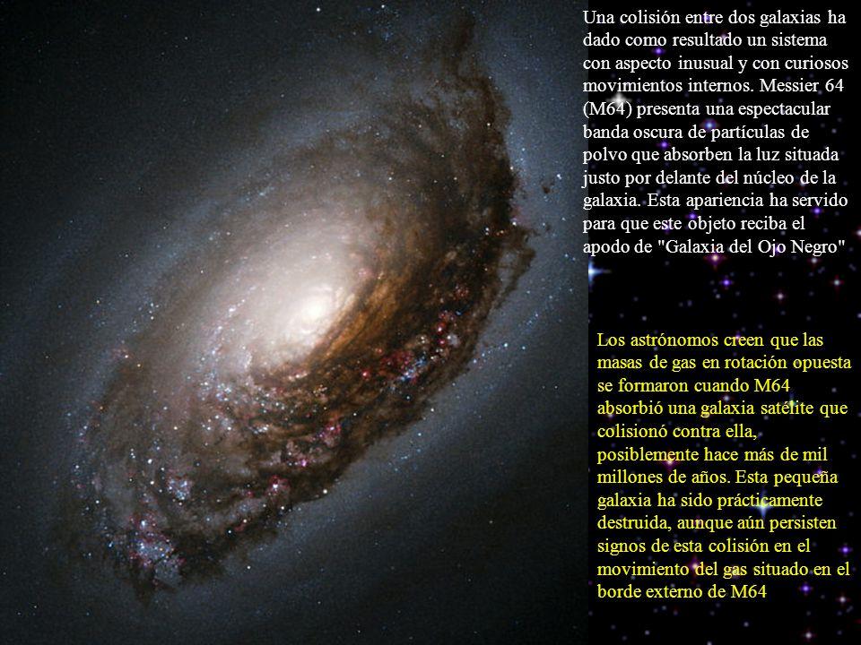 Una colisión entre dos galaxias ha dado como resultado un sistema con aspecto inusual y con curiosos movimientos internos. Messier 64 (M64) presenta u