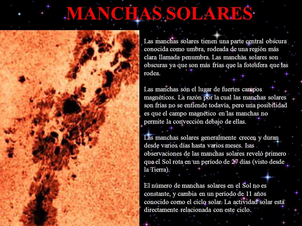 MANCHAS SOLARES Las manchas solares tienen una parte central obscura conocida como umbra, rodeada de una región más clara llamada penumbra. Las mancha