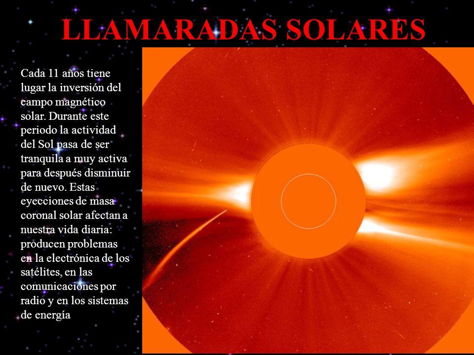 LLAMARADAS SOLARES Cada 11 años tiene lugar la inversión del campo magnético solar. Durante este periodo la actividad del Sol pasa de ser tranquila a