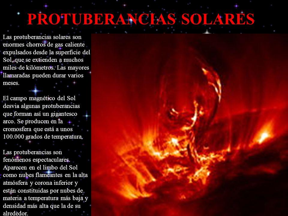 PROTUBERANCIAS SOLARES Las protuberancias solares son enormes chorros de gas caliente expulsados desde la superficie del Sol, que se extienden a mucho