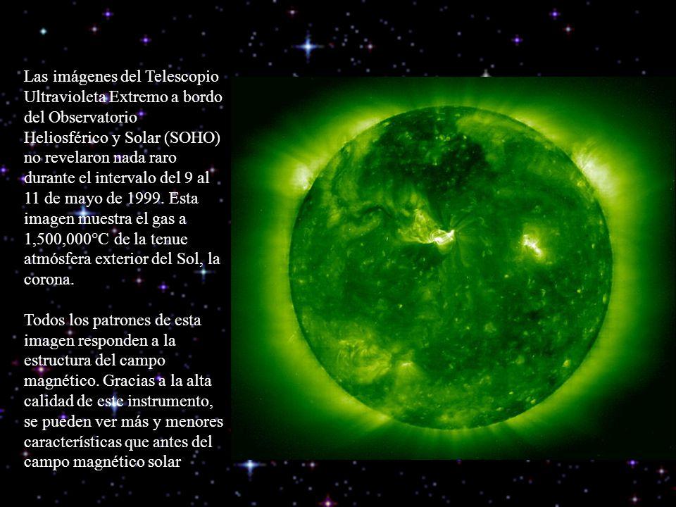 Las imágenes del Telescopio Ultravioleta Extremo a bordo del Observatorio Heliosférico y Solar (SOHO) no revelaron nada raro durante el intervalo del