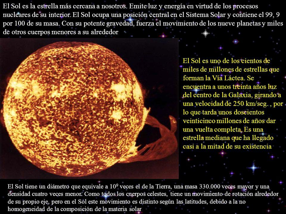 El Sol es la estrella más cercana a nosotros. Emite luz y energía en virtud de los procesos nucleares de su interior. El Sol ocupa una posición centra