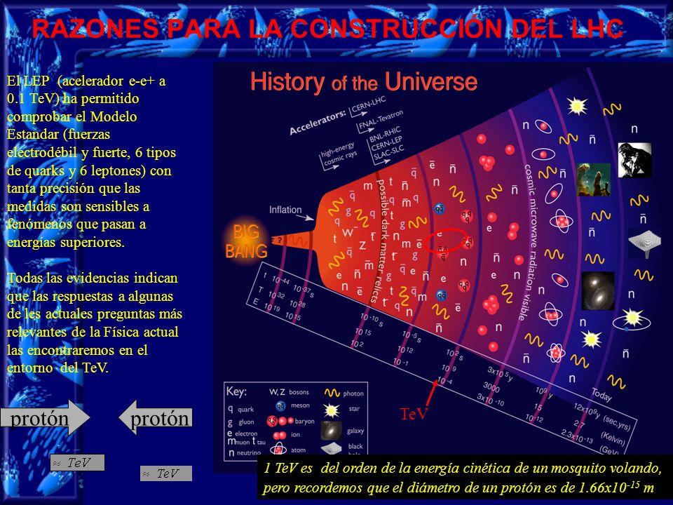 3 El LEP (acelerador e-e+ a 0.1 TeV) ha permitido comprobar el Modelo Estandar (fuerzas electrodébil y fuerte, 6 tipos de quarks y 6 leptones) con tanta precisión que las medidas son sensibles a fenómenos que pasan a energías superiores.