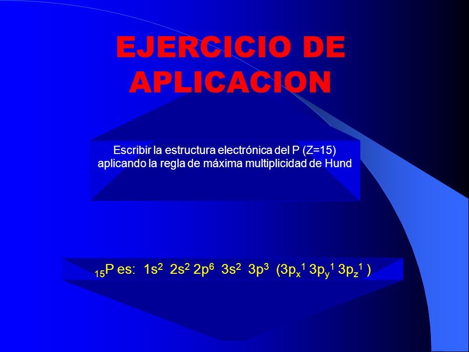 Escribir la estructura electrónica del Sc (Z=21) mediante la configuración abreviada interna del gas noble EJERCICIO DE APLICACION Sc: [Ar]4s 2 3d 1