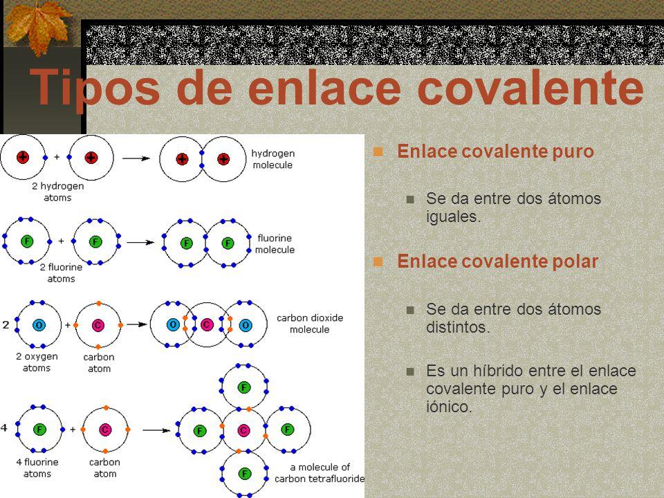 Enlace covalente puro Se da entre dos átomos iguales.
