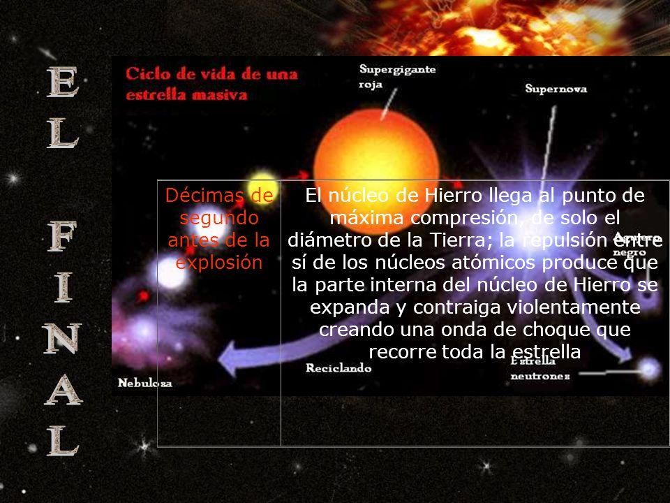 Pocos días antes de la explosión Las enormes presiones elevan la temperatura por encima de los 3.000 millones de grados convirtiendo el Silicio y Azufre en una esfera de Hierro fuertemente comprimida que posee unas 1,44 masa solares.