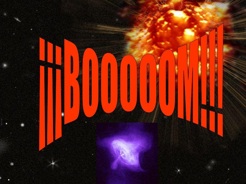 Décimas de segundo antes de la explosión El núcleo de Hierro llega al punto de máxima compresión, de solo el diámetro de la Tierra; la repulsión entre sí de los núcleos atómicos produce que la parte interna del núcleo de Hierro se expanda y contraiga violentamente creando una onda de choque que recorre toda la estrella