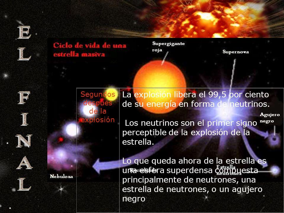 Milisegun dos después de la explosión El retroceso del núcleo arroja materia desde dentro hacia afuera en una onda explosiva que atraviesa capa a capa