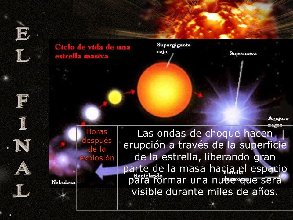 Segundos después de la explosión La explosión libera el 99,5 por ciento de su energía en forma de neutrinos. Los neutrinos son el primer signo percept