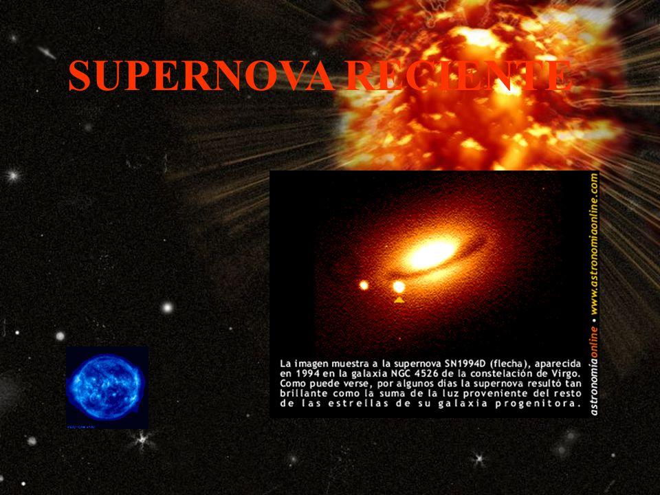 Horas después de la explosión Las ondas de choque hacen erupción a través de la superficie de la estrella, liberando gran parte de la masa hacia el espacio para formar una nube que será visible durante miles de años.