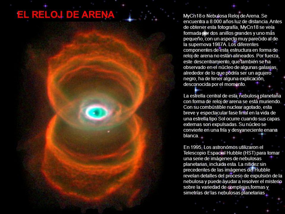 MyCn18 o Nebulosa Reloj de Arena.Se encuentra a 8.000 años luz de distancia.