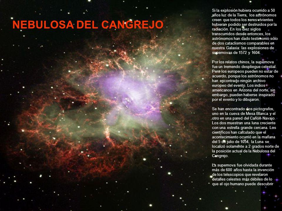 NEBULOSA DEL CANGREJO Si la explosión hubiera ocurrido a 50 años luz de la Tierra, los astrónomos creen que todos los seres vivientes hubieran podido ser destruidos por la radiación.
