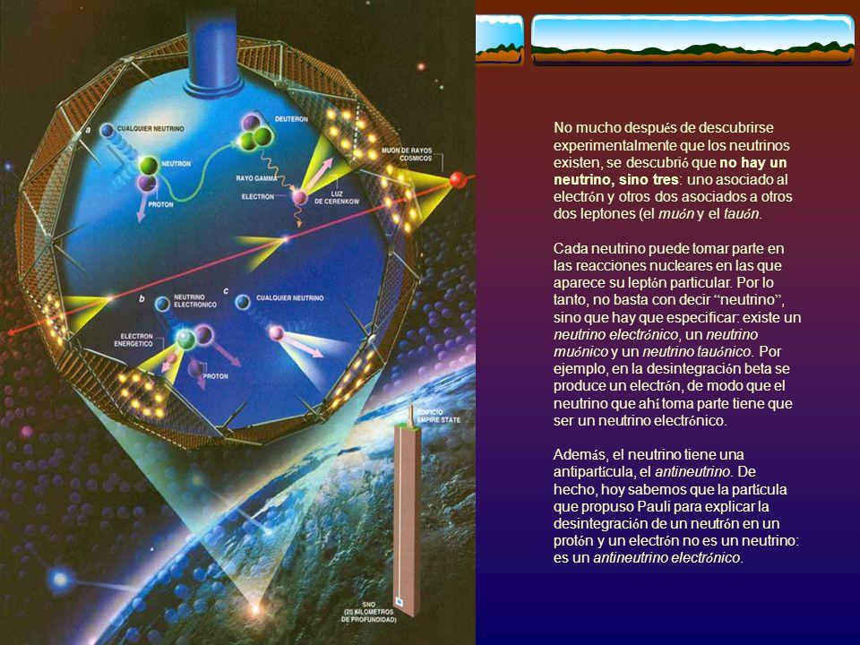 No mucho despu é s de descubrirse experimentalmente que los neutrinos existen, se descubri ó que no hay un neutrino, sino tres: uno asociado al electr