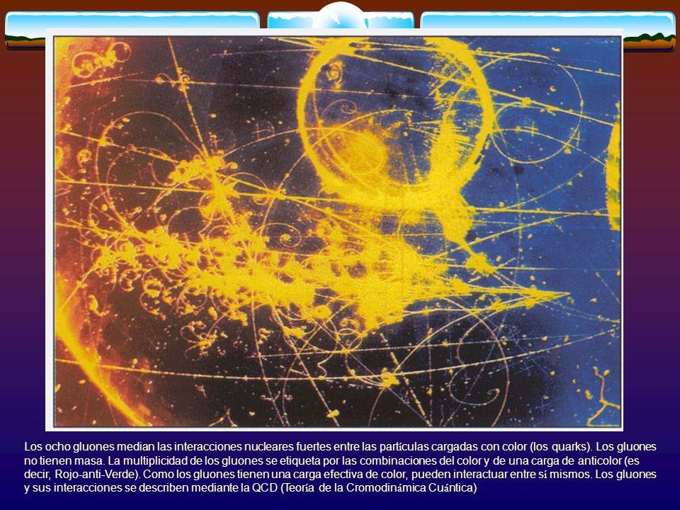 Los ocho gluones median las interacciones nucleares fuertes entre las part í culas cargadas con color (los quarks). Los gluones no tienen masa. La mul