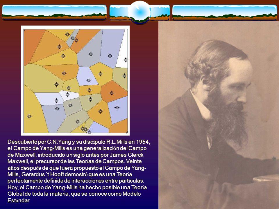 Descubierto por C.N.Yang y su disc í pulo R.L.Mills en 1954, el Campo de Yang-Mills es una generalizaci ó n del Campo de Maxwell, introducido un siglo