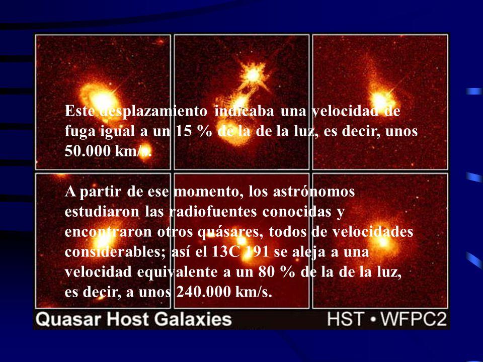 Schinidt afirma que la composición de la estrella - que desde entonces se llama quasar, (contracción de Quasi Stellar Object-) es la misma que la de una estrella ordinaria si se hace intervenir el desplazamiento hacia el rojo o efecto Doppler-Fizeau.
