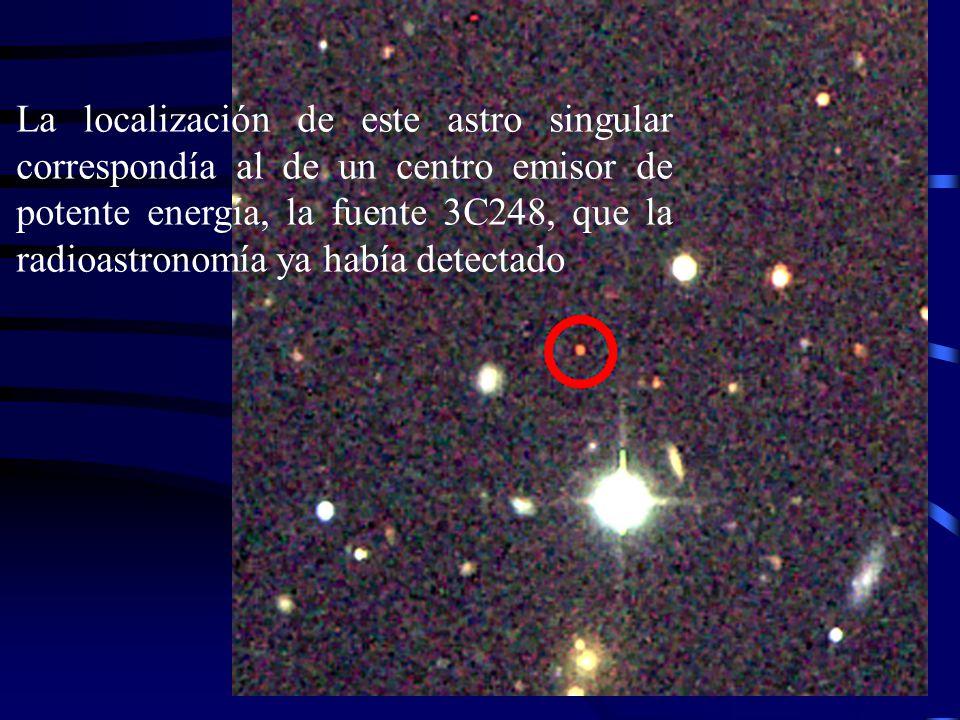 La localización de este astro singular correspondía al de un centro emisor de potente energía, la fuente 3C248, que la radioastronomía ya había detectado