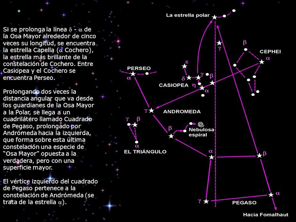 Si se prolonga la línea - de la Osa Mayor alrededor de cinco veces su longitud, se encuentra la estrella Capella ( Cochero), la estrella más brillante