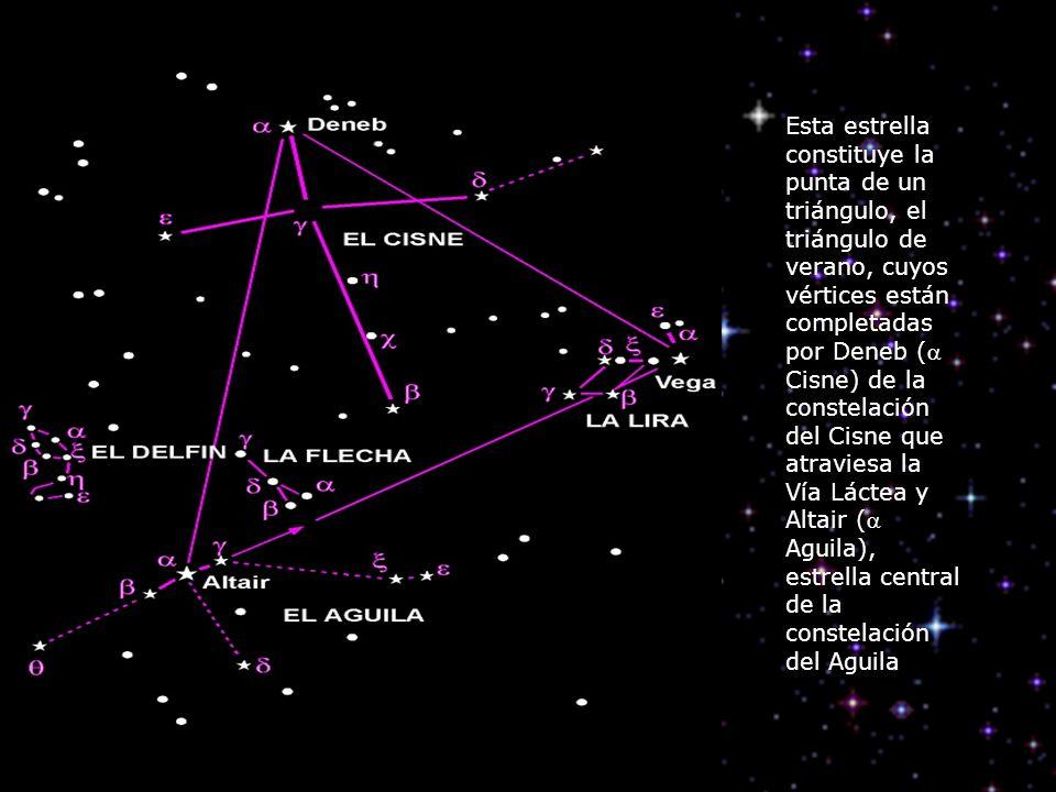 Esta estrella constituye la punta de un triángulo, el triángulo de verano, cuyos vértices están completadas por Deneb ( Cisne) de la constelación del
