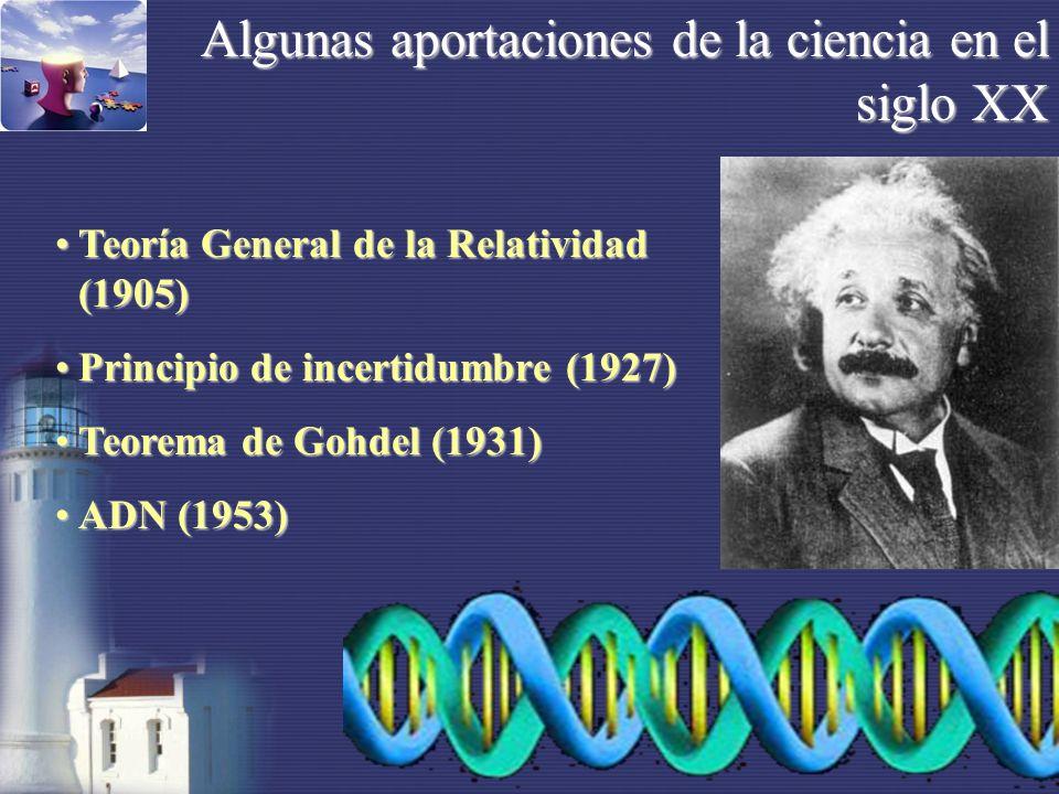 Algunas aportaciones de la ciencia en el siglo XX Teoría General de la Relatividad (1905)Teoría General de la Relatividad (1905) Principio de incertidumbre (1927)Principio de incertidumbre (1927) Teorema de Gohdel (1931)Teorema de Gohdel (1931) ADN (1953)ADN (1953)
