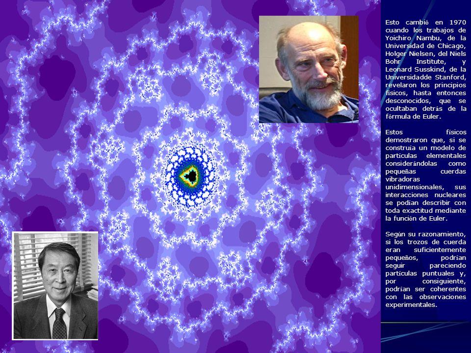 Esto cambi ó en 1970 cuando los trabajos de Yoichiro Nambu, de la Universidad de Chicago, Holger Nielsen, del Niels Bohr Institute, y Leonard Susskind
