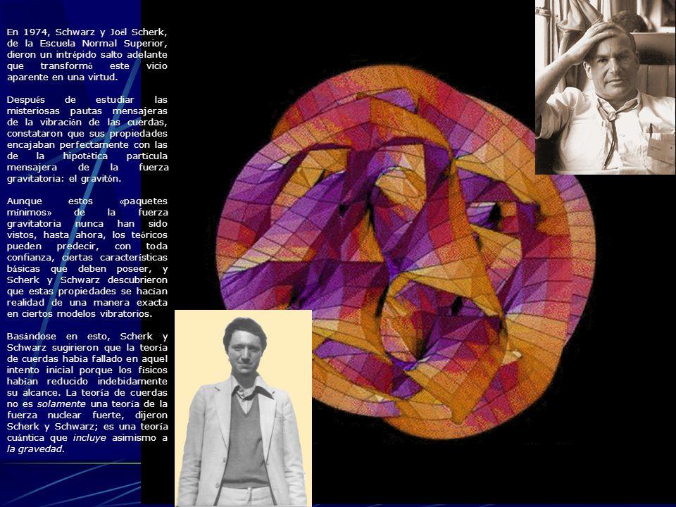 En 1974, Schwarz y Jo ë l Scherk, de la Escuela Normal Superior, dieron un intr é pido salto adelante que transform ó este vicio aparente en una virtu