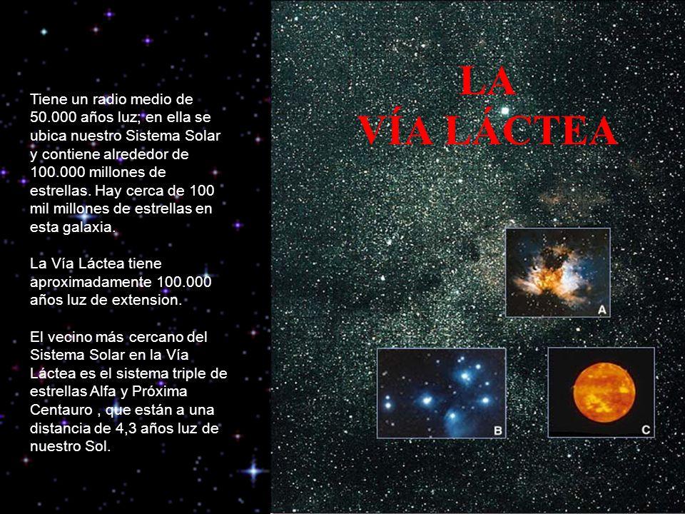 LA VÍA LÁCTEA Tiene un radio medio de 50.000 años luz; en ella se ubica nuestro Sistema Solar y contiene alrededor de 100.000 millones de estrellas. H