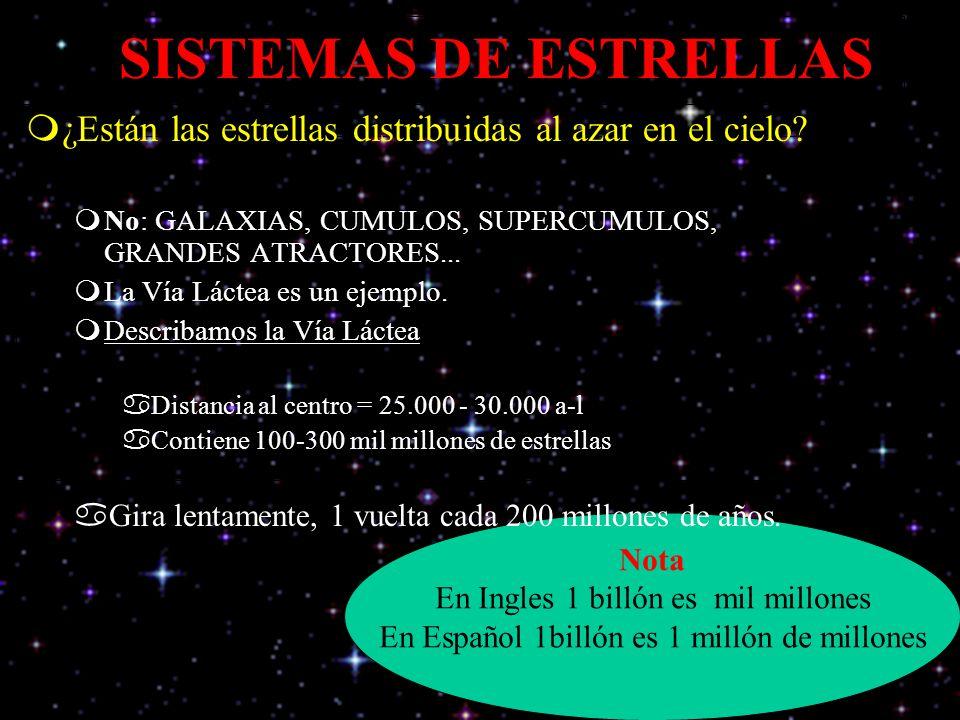 Nota En Ingles 1 billón es mil millones En Español 1billón es 1 millón de millones SISTEMAS DE ESTRELLAS ¿Están las estrellas distribuidas al azar en