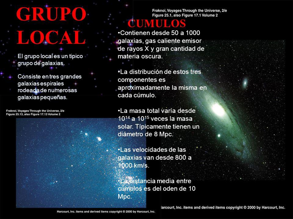 GRUPO LOCAL El grupo local es un tipico grupo de galaxias. Consiste en tres grandes galaxias espirales rodeada de numerosas galaxias pequeñas. Contien