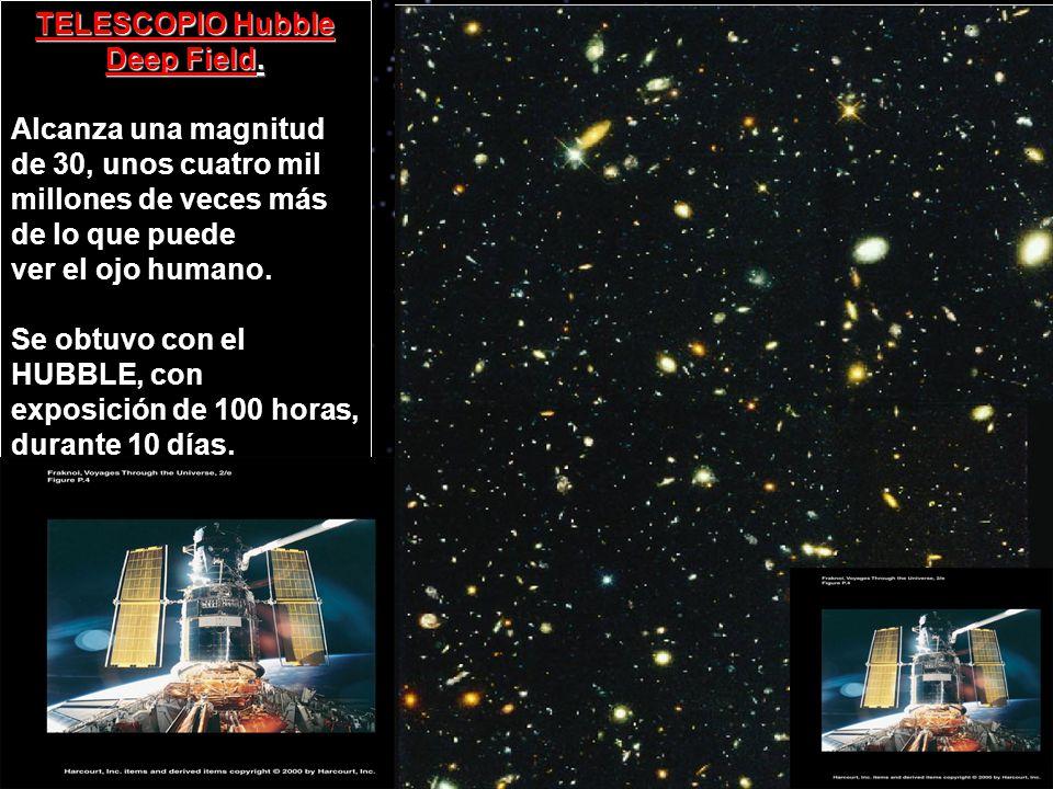 TELESCOPIO Hubble Deep Field. Alcanza una magnitud de 30, unos cuatro mil millones de veces más de lo que puede ver el ojo humano. Se obtuvo con el HU