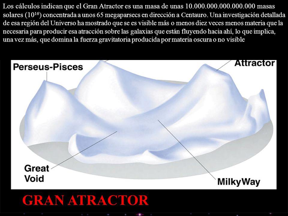 GRAN ATRACTOR Los cálculos indican que el Gran Atractor es una masa de unas 10.000.000.000.000.000 masas solares (10 16 ) concentrada a unos 65 megapa