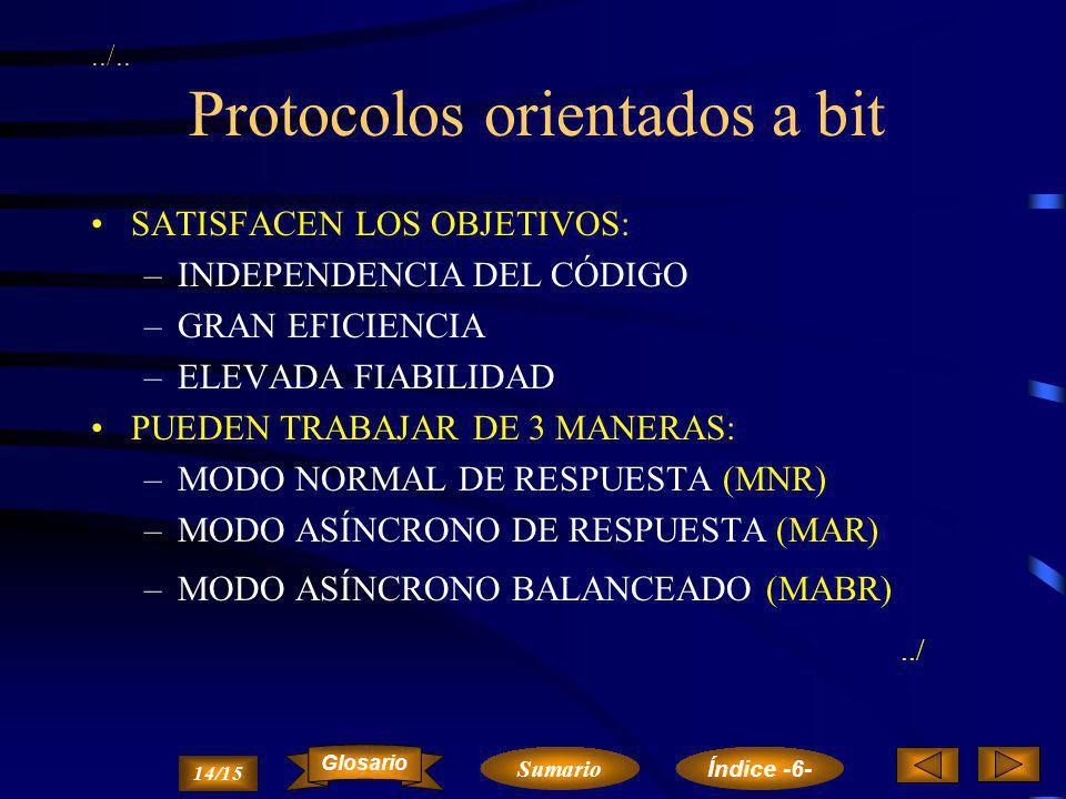 ../.. Protocolos orientados a bit CUMPLEN LOS SIGUIENTES REQUERIMIENTOS: –ADAPTACIÓN A DIFERENTES CONFIGURACIONES –POSIBILIDAD DE MANEJAR DIFERENTES E