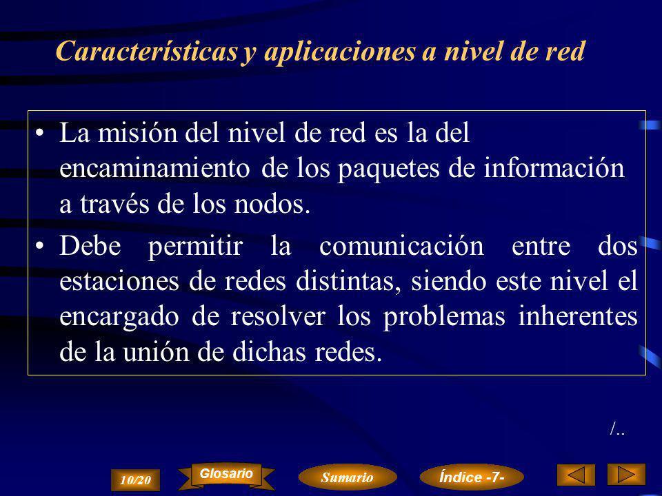 Topología en bus Conexión entre nodos de forma lineal. 9/20 ´ Sumario Glosario Índice -7-