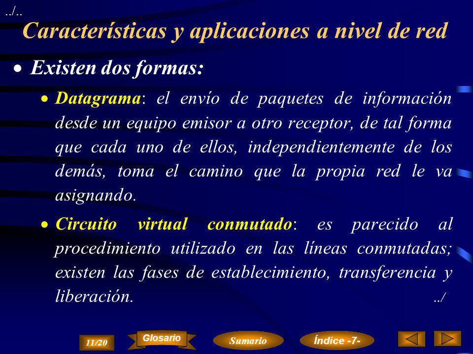 Características y aplicaciones a nivel de red La misión del nivel de red es la del encaminamiento de los paquetes de información a través de los nodos