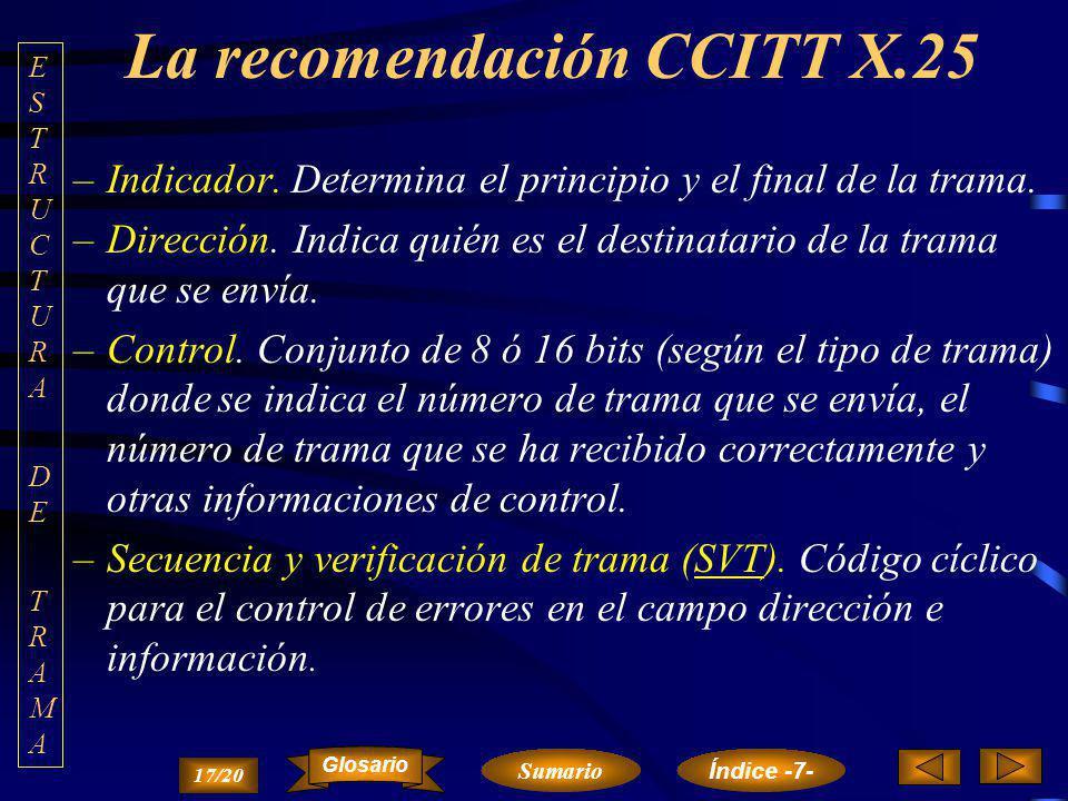 La recomendación CCITT X.25 La sincronización de las tramas se realiza mediante el guión (0111 1110). –La transparencia se consigue mediante inserción