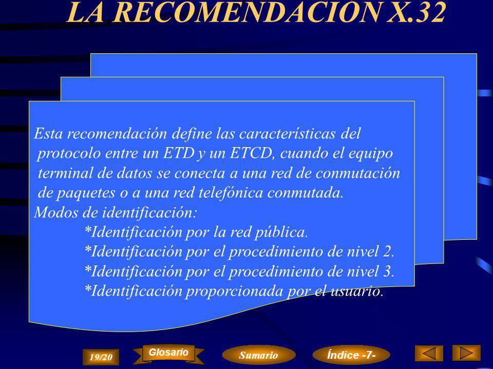 LAS RECOMENDACIONES 3X (X.28, X.29 Y X.3) Las recomendaciones X.28, X.29 y X.3 definen las características que deben reunir los DEP para la conexión d