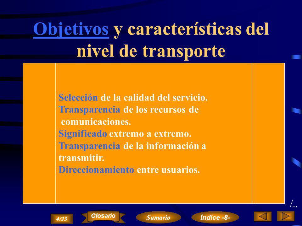Nivel de Transporte Objetivos y características del nivel de transporte.Objetivos y características Fases, servicios y operaciones del nivel de transporte.Fases, servicios y operaciones Protocolo y funciones del nivel de transporte.Protocolofunciones 3/23 Sumario Glosario Índice -8-