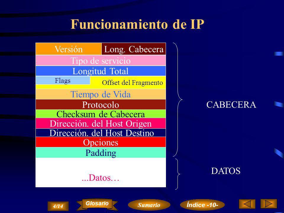 Aplicaciones sobre TCP/IP Ethernet, IEEE 802.2, X.25 V.24, RS-232, V.35, G.703 IP, ICMP, ARP, RARP TCPUDP FTP SMTP, TELNET SNMP X-WINDOWS RPC, NFS Nivel Aplicación Nivel Transporte Nivel Internet Nivel Red Nivel Físico 3/14 Sumario Glosario Índice -10-