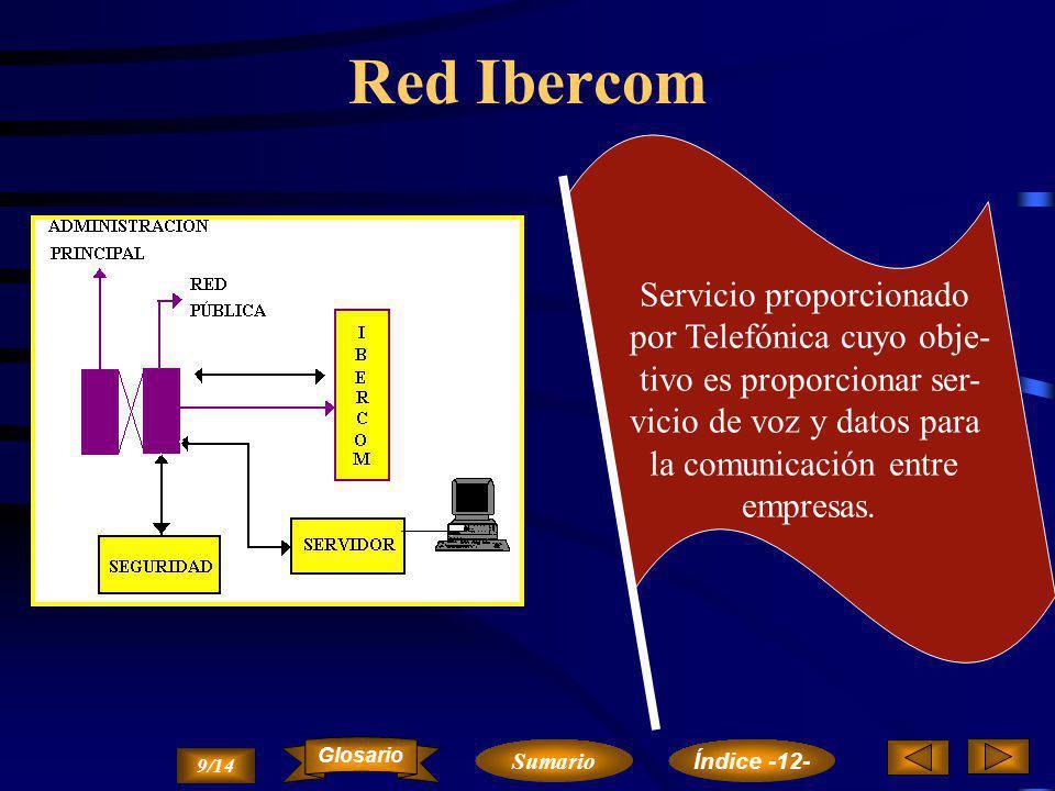 El servicio Ibertex RTC Iberpac Terminal Videotex Base de Datos CPS 8/14 Sumario Glosario Índice -12-