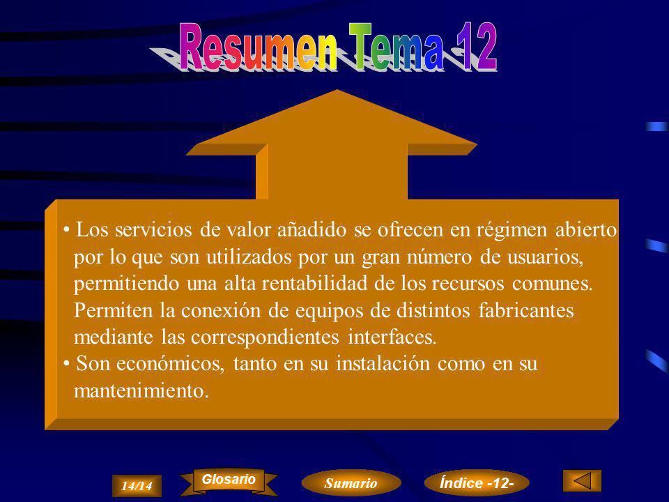 Otros servicios de valor añadido SERVIRED EDI 13/14 Sumario Glosario Índice -12-