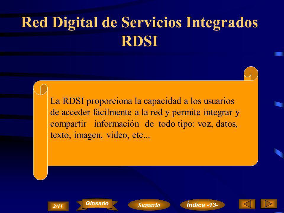 RDSI FRAME RELAY CELL RELAY Comunicación por satélite. VSAT Resumen 1/11 Cap. 13. Tendencias en Redes y Sistemas Teleinformáticos Sumario Glosario Índ