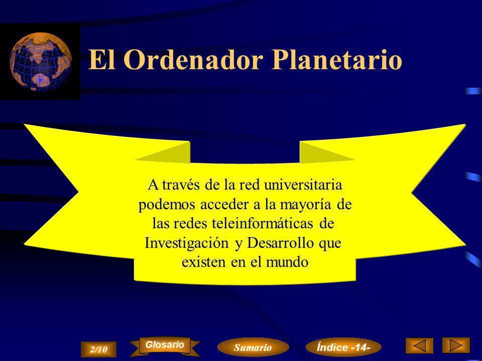 El Ordenador Planetario Teleinformática y Educación Teleinformática y Sanidad Teleinformática y Empresa Resumen 1/10 Cap. 14. Teleinformática y Socied
