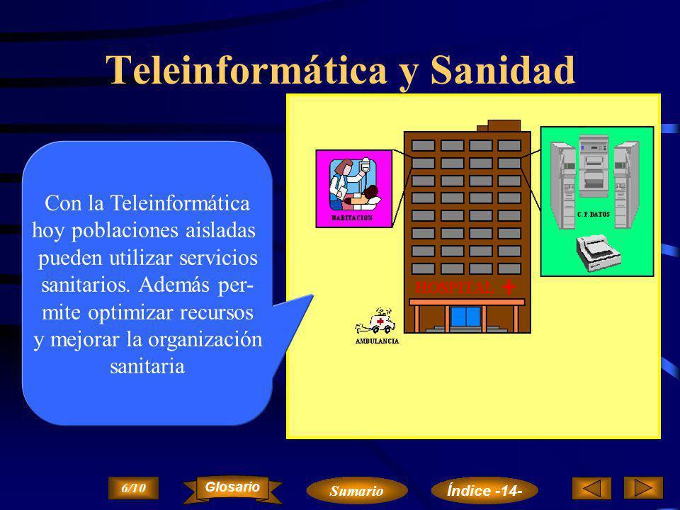 Teleinformática y Educación La Teleinformática es una herrramienta cada vez más útil para los educadores 5/10 Sumario Glosario Índice -14-