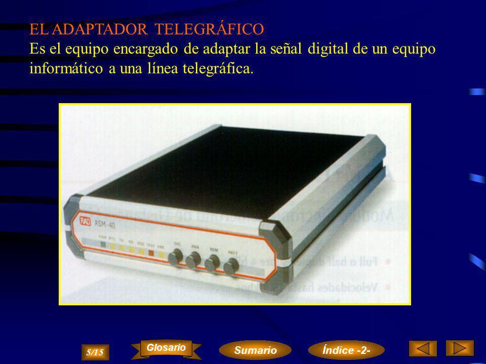 El MÓDEM (modulador-demodulador) es el equipo encargado de adaptar la señal digital de un equipo informático a una línea telefónica analógica. 4/15 Su