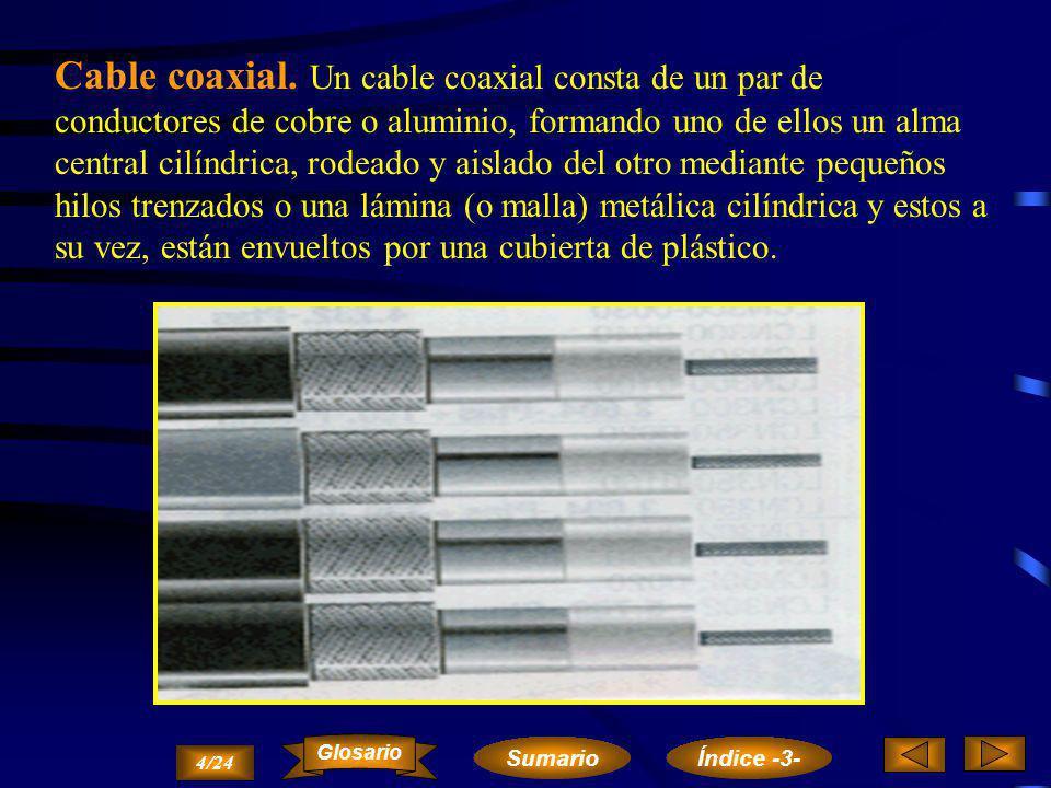 Cables de pares. Cada circuito de transmisión lo configura un par de hilos (uno de ida y otro de vuelta) independientes de las demás señales (Modo Bal