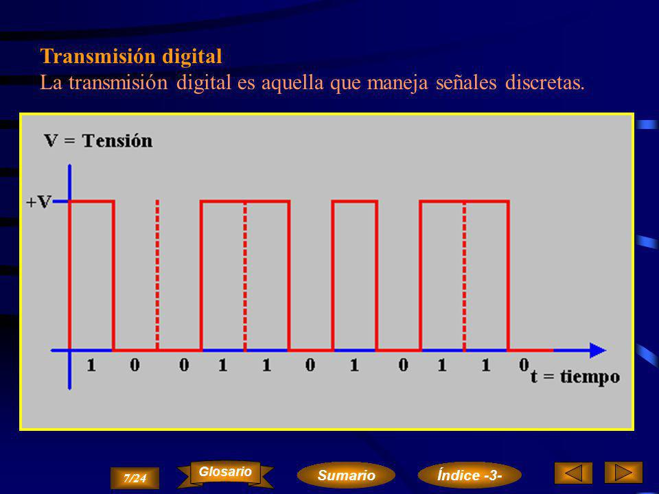 Transmisión analógica La transmisión analógica es aquella que maneja señales de tipo analógico, es decir, que puede tener cualquier valor, de forma continua y dentro de unos márgenes.