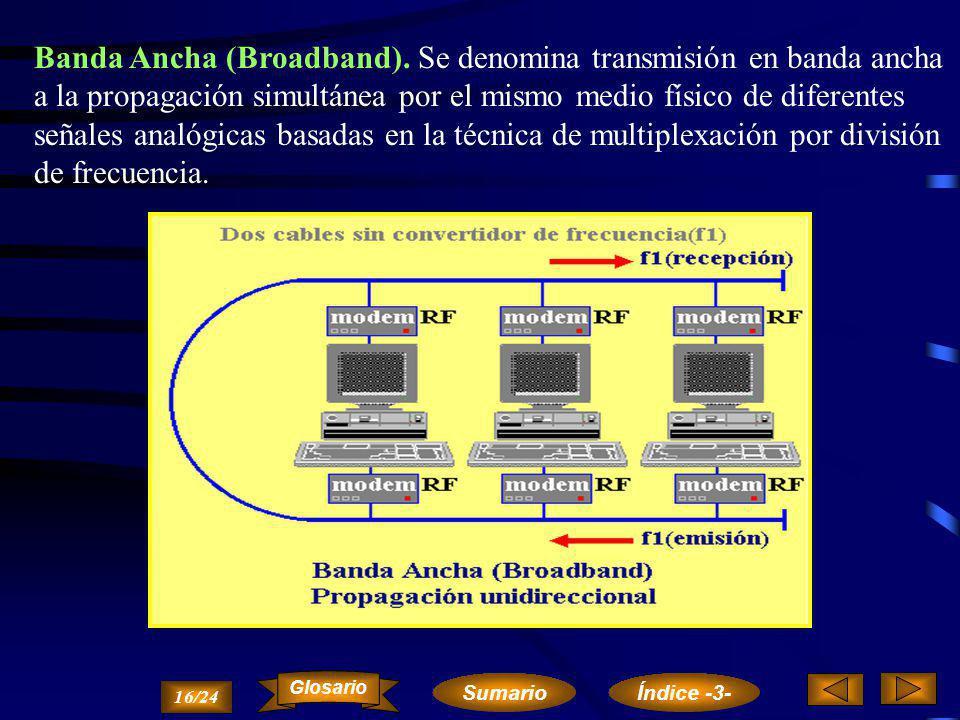 Banda Base (Baseband). La transmisión en banda base se utiliza con señales digitales, y su nombre se debe al hecho de que la señal de datos se transmi